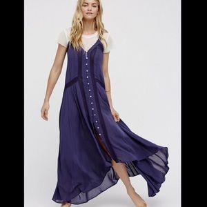Free People Lace Trim Button Front Slip Dress S